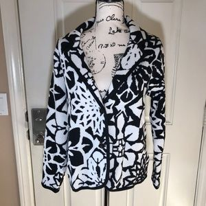 NWOT Isaac Mizrahi LIVE Knit Blazer White/Black